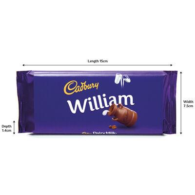 Cadbury Dairy Milk Chocolate Bar 110g - William image number 3