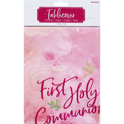 First Holy Communion Plastic Table Cover - Pink image number 1