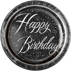 Black and Silver Happy Birthday Paper Plates - 8 Pack image number 1