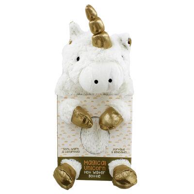 White Magical Unicorn Hot Water Bottle image number 1