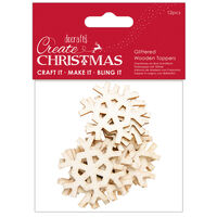 Glittered Gold Hexagonal Snowflake Wooden Toppers: Pack of 12