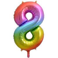 34 Inch Rainbow Number 8 Helium Balloon