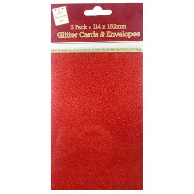 C6 Red and Gold Glitter Cards and Envelopes: Pack of 5