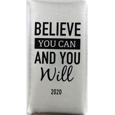Metallic Silver 2020 Slim Week to View Pocket Diary image number 1
