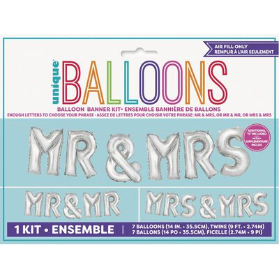 14 Inch Mr and Mrs Helium Balloons - 7 Pack image number 1