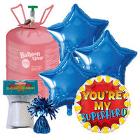 Father's Day Superhero Balloon & Amscan Helium Canister Bundle