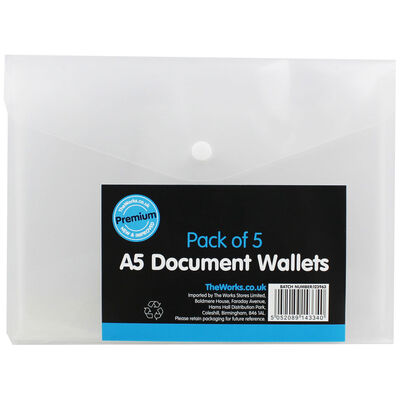 A5 Document Wallets - Pack Of 5 image number 1
