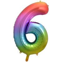 34 Inch Rainbow Number 6 Helium Balloon