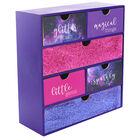 Purple Glitter Wooden 6 Drawer Storage Set image number 1