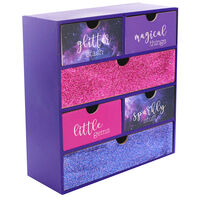 Purple Glitter Wooden 6 Drawer Storage Set