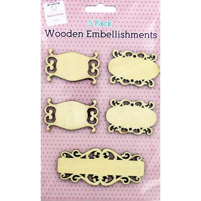 Wooden Labels Embellishments - 5 Pack image number 1