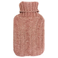 Blush Knitted Cable Hot Water Bottle