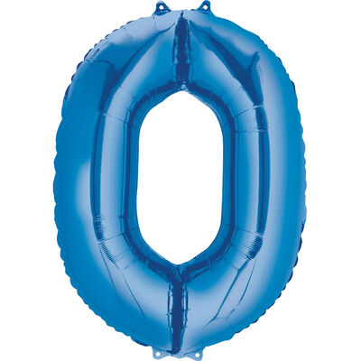 34 Inch Blue Number 0 Helium Balloon image number 1
