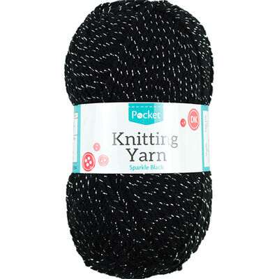 Sparkle Black Knitting Yarn - 50g image number 1