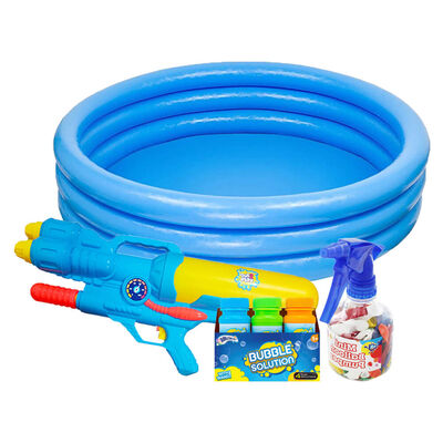 Intex Inflatable Three Ring Paddling Pool and Outdoor Toys Bundle image number 1