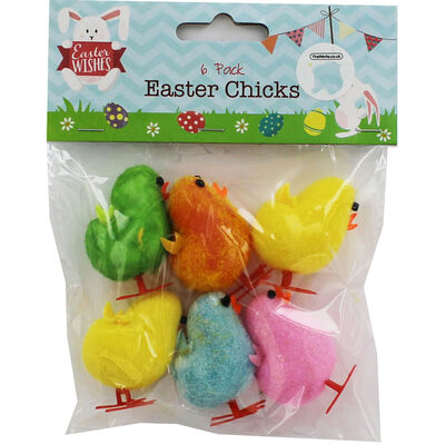 Multi-Coloured Easter Chicks - 6 Pack image number 1