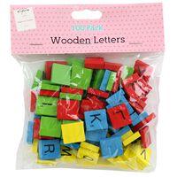 Multi-Coloured Wooden Letter Tiles: Pack of 100