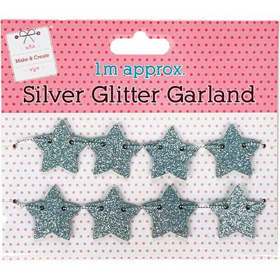Silver Glitter Garland 1m image number 1