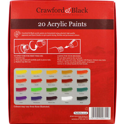 High Quality 12ml Acrylic Paints - Set of 20 image number 3