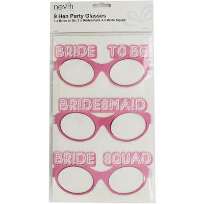 Pink Bride Squad Party Glasses - 9 Pack image number 1