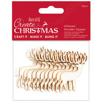 Glittered Gold Stag Wooden Toppers: Pack of 12
