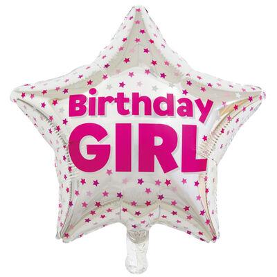 19 Inch Birthday Girl Star Helium Balloon image number 1