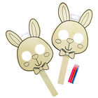 Colour Your Own Wooden Bunny Mask - 2 Pack image number 1