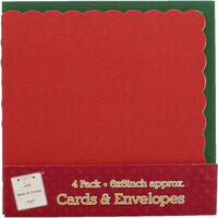 Pack of 4 Scalloped Cards and Envelopes: 6 x 6 Inches