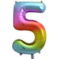 34 Inch Rainbow Number 5 Helium Balloon