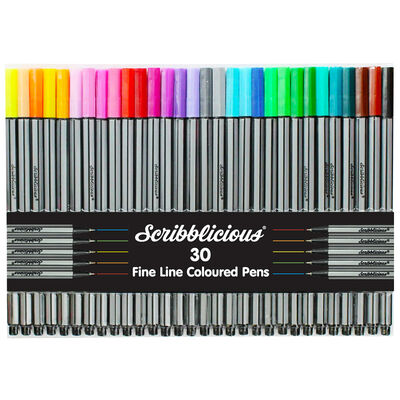 Scribblicious Fine Line Coloured Pens - Pack Of 30 image number 1