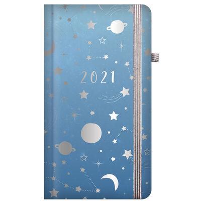 Cosmic Blue 2021 Slim Week to View Pocket Diary image number 1