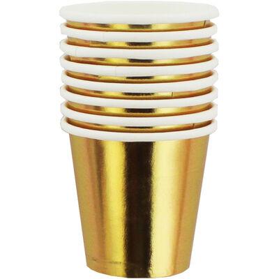 Metallic Gold Mini Paper Shot Glasses - 8 Pack image number 1