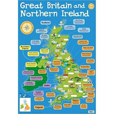Great Britain and Northern Ireland Map Wall Chart image number 1