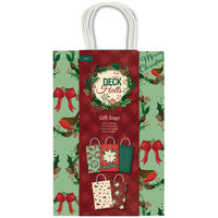 Assorted Deck the Halls Gift Bags: Pack of 5