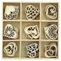 Wooden Heart Embellishments Box: Set of 45