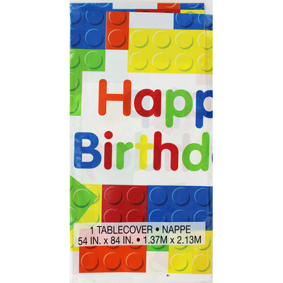 Building Blocks Happy Birthday Plastic Table Cover image number 1