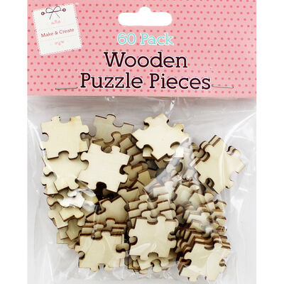 60 Wooden Puzzle Pieces - Natural image number 1