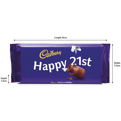 Cadbury Dairy Milk Chocolate Bar 110g - Happy 21st image number 3