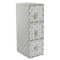 Grey White Star 3 Drawer Desk Organiser