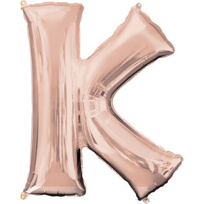 34 Inch Light Rose Gold Letter K Helium Balloon image number 1