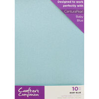 Crafters Companion Glitter Card 10 Sheet Pack - Baby Blue