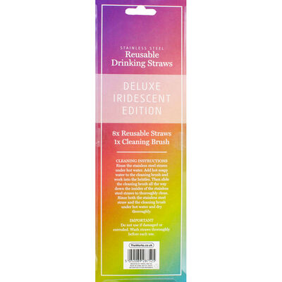 Iridescent Stainless Steel Reusable Drinking Straws - 8 Pack image number 3