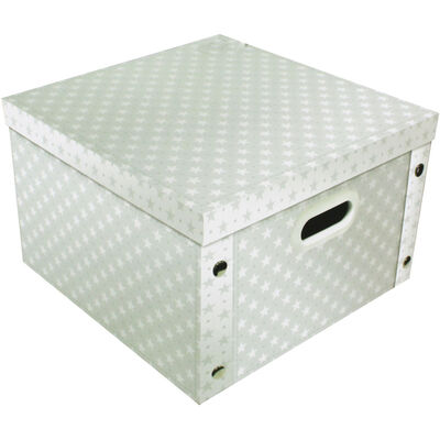 Grey White Star Collapsible Storage Box image number 1