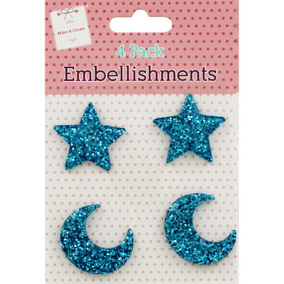 Blue Glitter Star and Moon Embellishments - 4 Pack image number 1