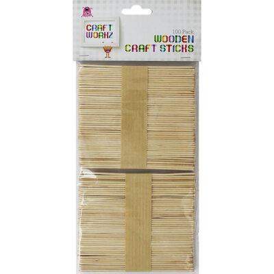 Wooden Craft Sticks - Pack Of 100 image number 1