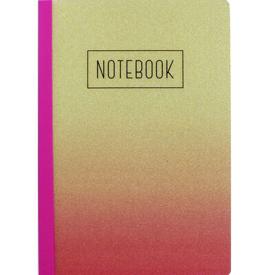 A5 Ombre Gold Pink Glitter Lined Notebook image number 1