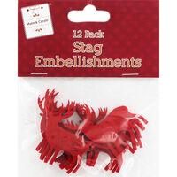 Red Felt Stag Embellishment - Pack of 12