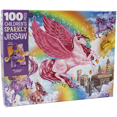 Unicorn Kingdom 100 Piece Sparkly Jigsaw Puzzle image number 1