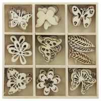 Wooden Butterfly Embellishments Box: Set of 45