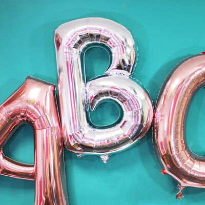 34 Inch Light Rose Gold Letter P Helium Balloon image number 3
